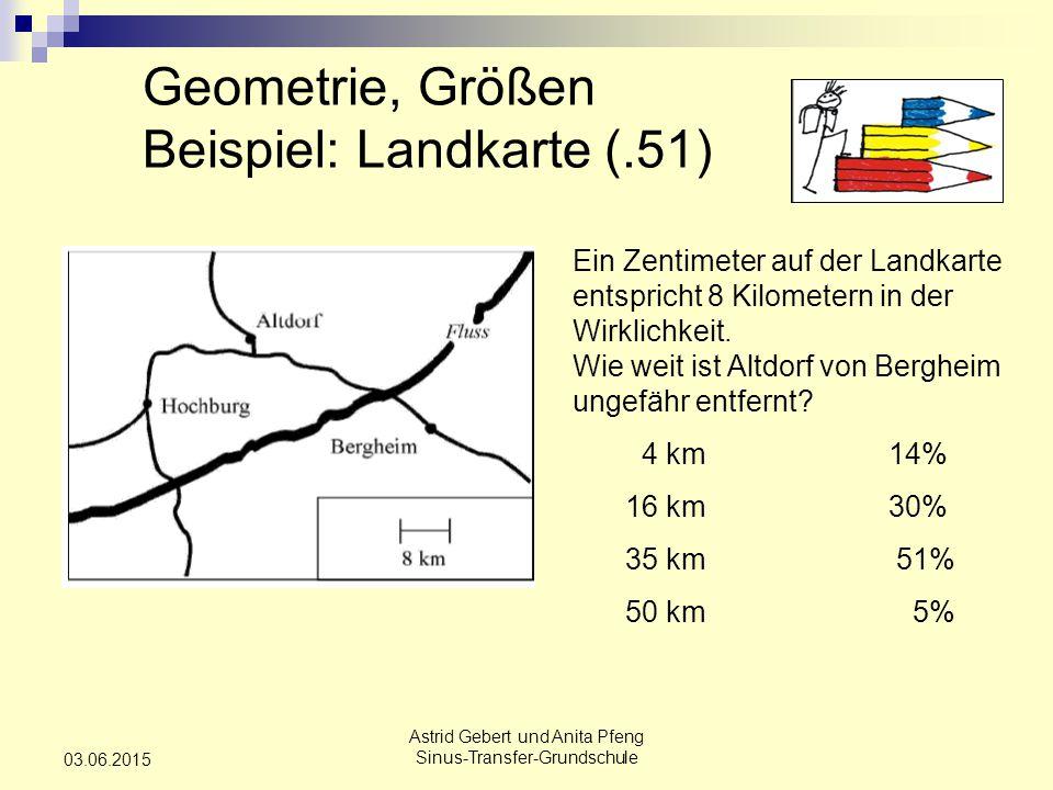 Astrid Gebert und Anita Pfeng Sinus-Transfer-Grundschule 03.06.2015 Geometrie, Größen Beispiel: Landkarte (.51) Ein Zentimeter auf der Landkarte entspricht 8 Kilometern in der Wirklichkeit.