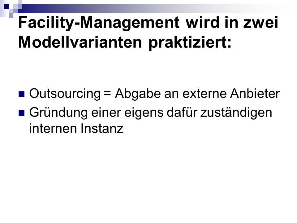 Facility-Management wird in zwei Modellvarianten praktiziert: Outsourcing = Abgabe an externe Anbieter Gründung einer eigens dafür zuständigen interne