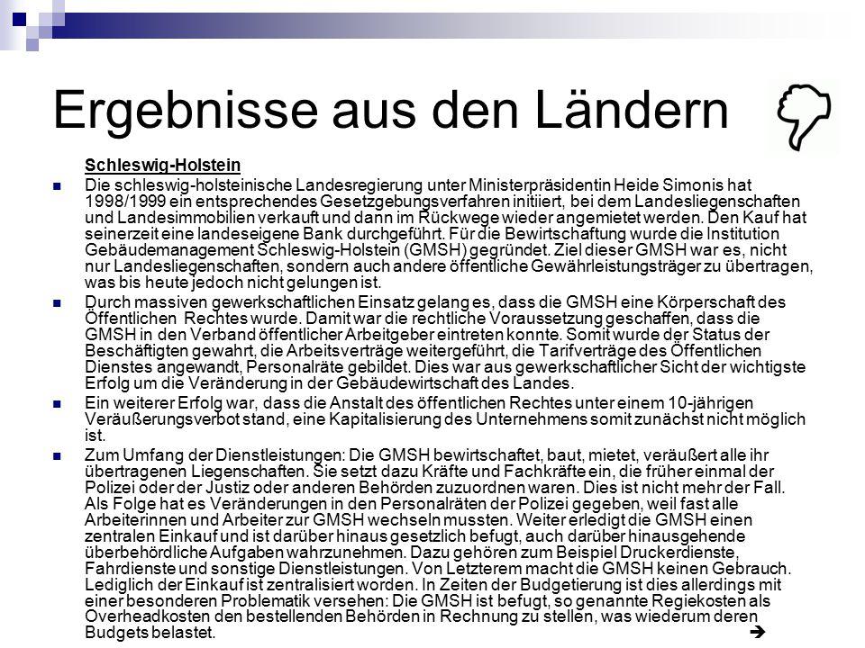 Ergebnisse aus den Ländern Schleswig-Holstein Die schleswig-holsteinische Landesregierung unter Ministerpräsidentin Heide Simonis hat 1998/1999 ein en