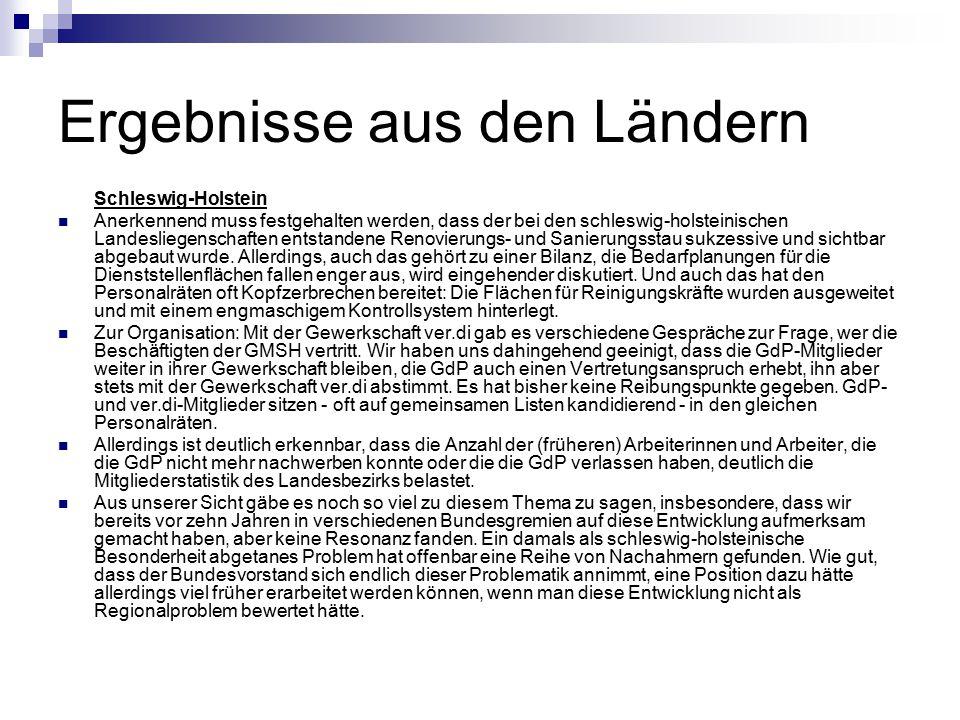 Ergebnisse aus den Ländern Schleswig-Holstein Anerkennend muss festgehalten werden, dass der bei den schleswig-holsteinischen Landesliegenschaften ent