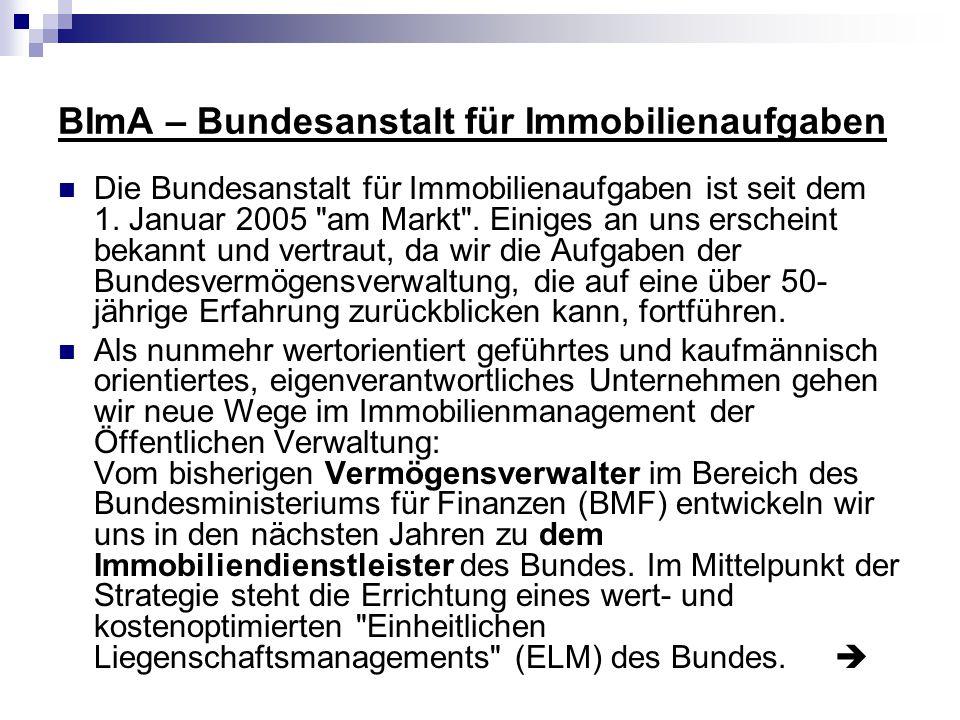 BImA – Bundesanstalt für Immobilienaufgaben Die Bundesanstalt für Immobilienaufgaben ist seit dem 1. Januar 2005
