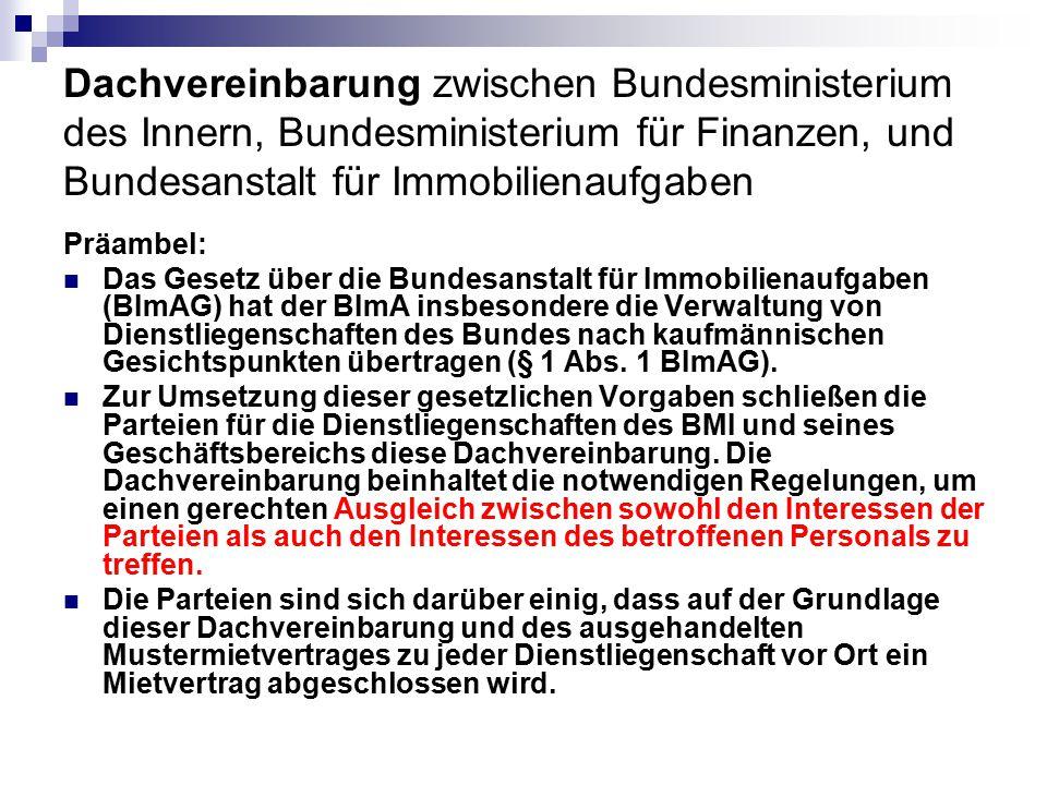 Dachvereinbarung zwischen Bundesministerium des Innern, Bundesministerium für Finanzen, und Bundesanstalt für Immobilienaufgaben Präambel: Das Gesetz