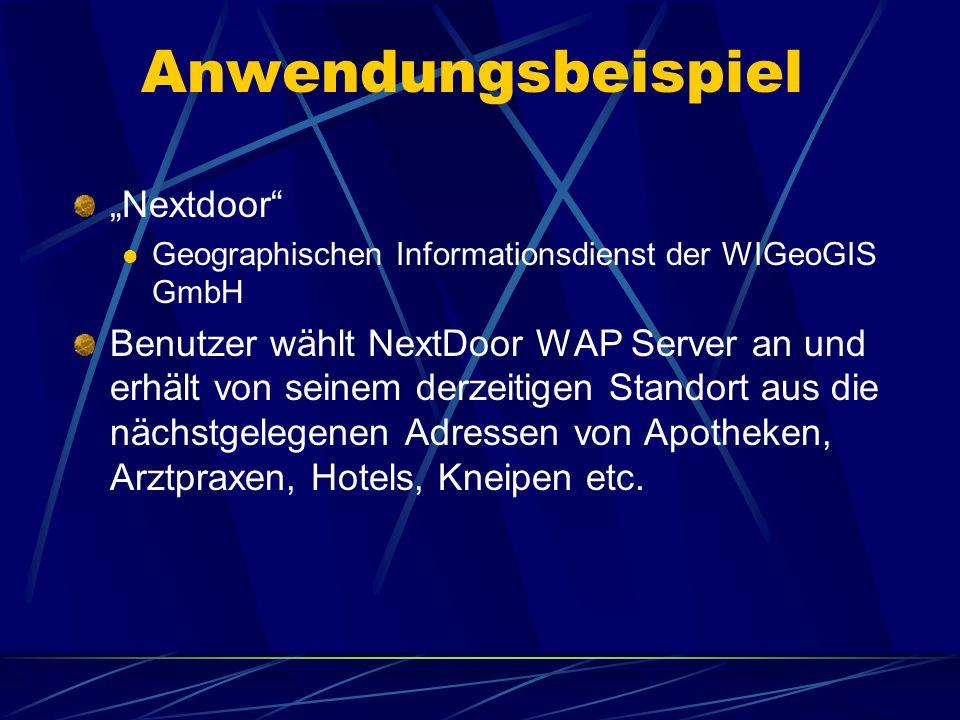 """Anwendungsbeispiel """"Nextdoor Geographischen Informationsdienst der WIGeoGIS GmbH Benutzer wählt NextDoor WAP Server an und erhält von seinem derzeitigen Standort aus die nächstgelegenen Adressen von Apotheken, Arztpraxen, Hotels, Kneipen etc."""