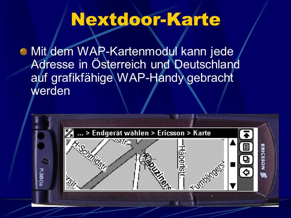 Nextdoor-Karte Mit dem WAP-Kartenmodul kann jede Adresse in Österreich und Deutschland auf grafikfähige WAP-Handy gebracht werden