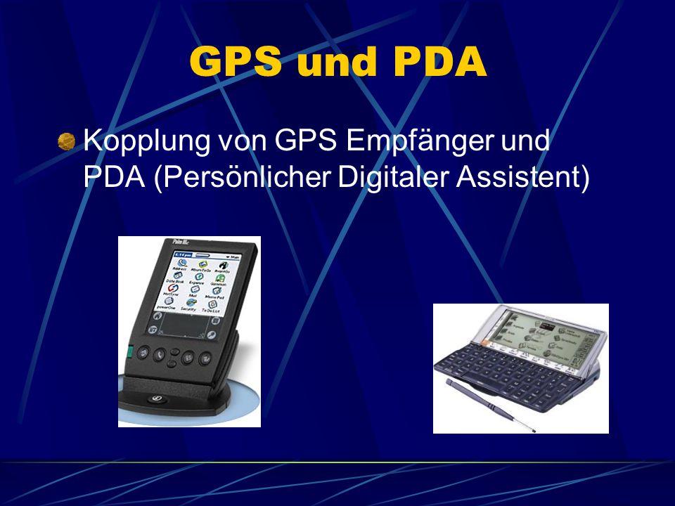 GPS und PDA Kopplung von GPS Empfänger und PDA (Persönlicher Digitaler Assistent)