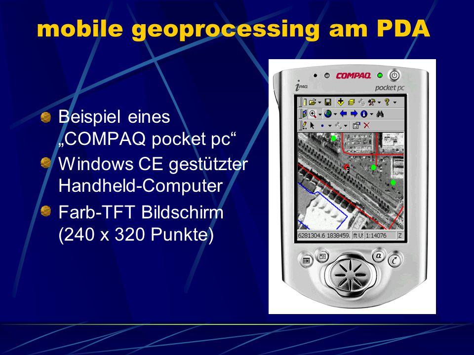 """mobile geoprocessing am PDA Beispiel eines """"COMPAQ pocket pc"""" Windows CE gestützter Handheld-Computer Farb-TFT Bildschirm (240 x 320 Punkte)"""
