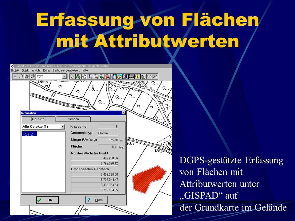 """Erfassung von Flächen mit Attributwerten DGPS-gestützte Erfassung von Flächen mit Attributwerten unter """"GISPAD auf der Grundkarte im Gelände"""