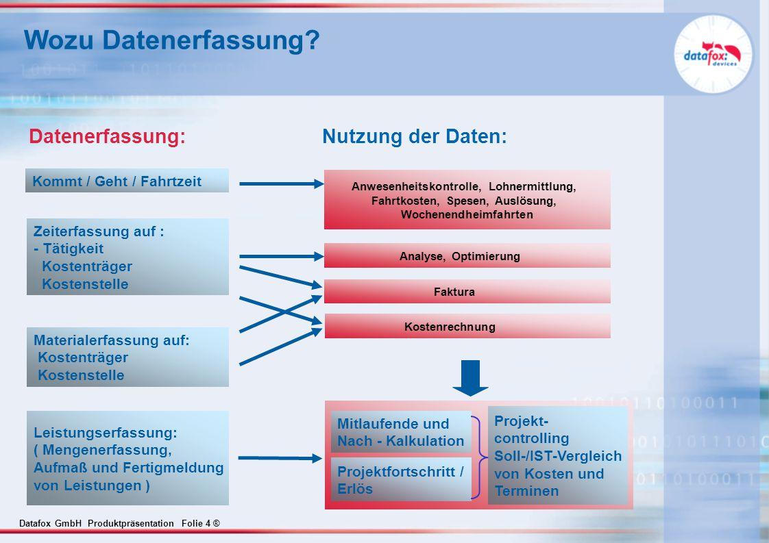 Datafox GmbH Produktpräsentation Folie 4 ® Datenerfassung: Nutzung der Daten: Kommt / Geht / Fahrtzeit Zeiterfassung auf : - Tätigkeit Kostenträger Ko