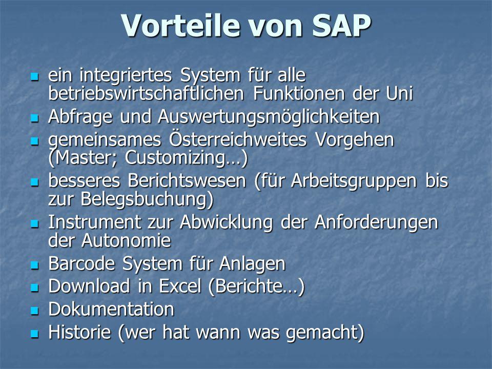 Vorteile von SAP ein integriertes System für alle betriebswirtschaftlichen Funktionen der Uni ein integriertes System für alle betriebswirtschaftliche