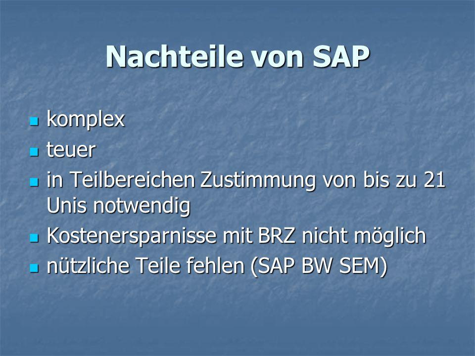 Nachteile von SAP komplex komplex teuer teuer in Teilbereichen Zustimmung von bis zu 21 Unis notwendig in Teilbereichen Zustimmung von bis zu 21 Unis