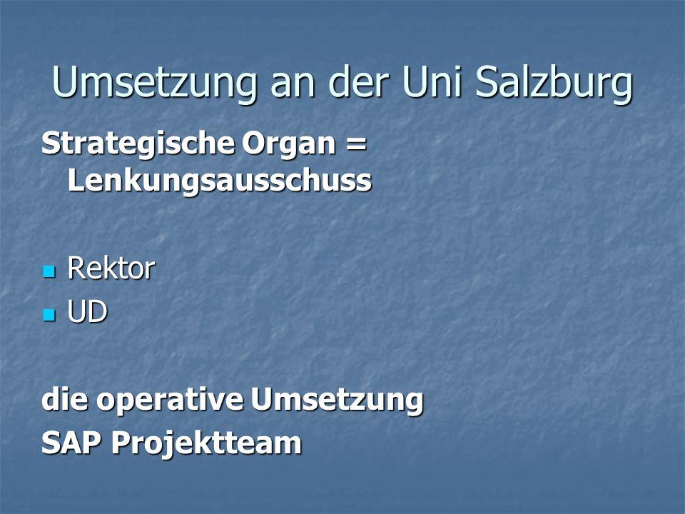 Umsetzung an der Uni Salzburg Strategische Organ = Lenkungsausschuss Rektor Rektor UD UD die operative Umsetzung SAP Projektteam