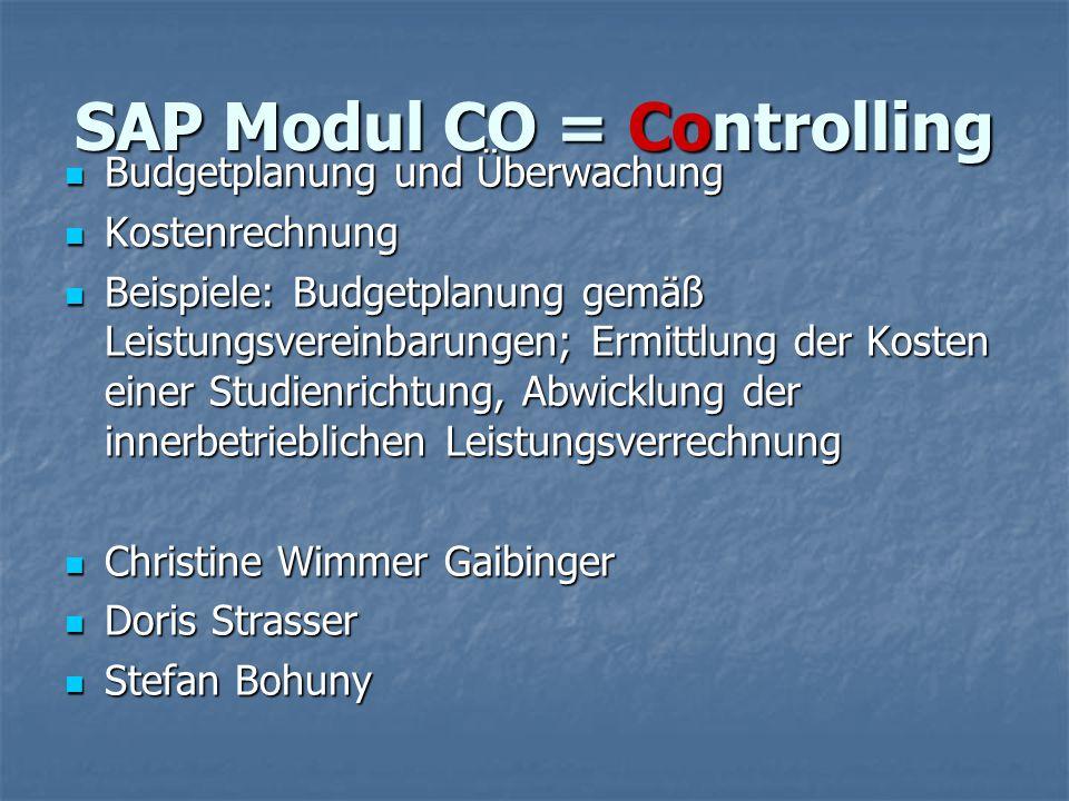 SAP Modul CO = Controlling Budgetplanung und Überwachung Budgetplanung und Überwachung Kostenrechnung Kostenrechnung Beispiele: Budgetplanung gemäß Le