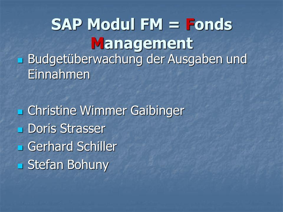 SAP Modul FM = Fonds Management Budgetüberwachung der Ausgaben und Einnahmen Budgetüberwachung der Ausgaben und Einnahmen Christine Wimmer Gaibinger C
