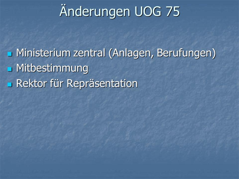 Änderungen UOG 75 Ministerium zentral (Anlagen, Berufungen) Ministerium zentral (Anlagen, Berufungen) Mitbestimmung Mitbestimmung Rektor für Repräsent