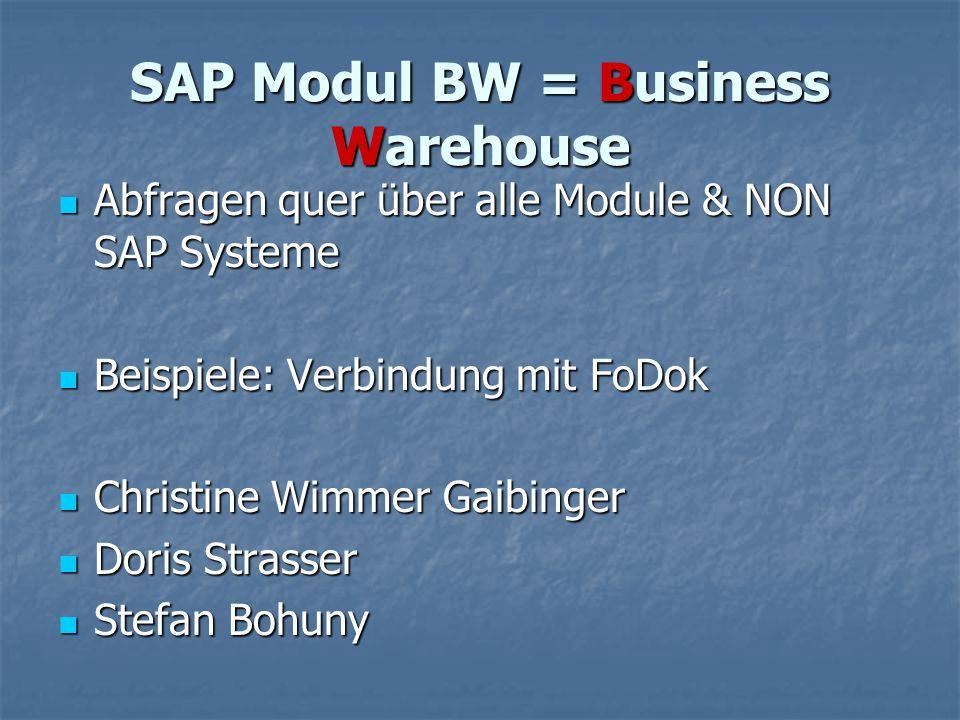 SAP Modul BW = Business Warehouse Abfragen quer über alle Module & NON SAP Systeme Abfragen quer über alle Module & NON SAP Systeme Beispiele: Verbind
