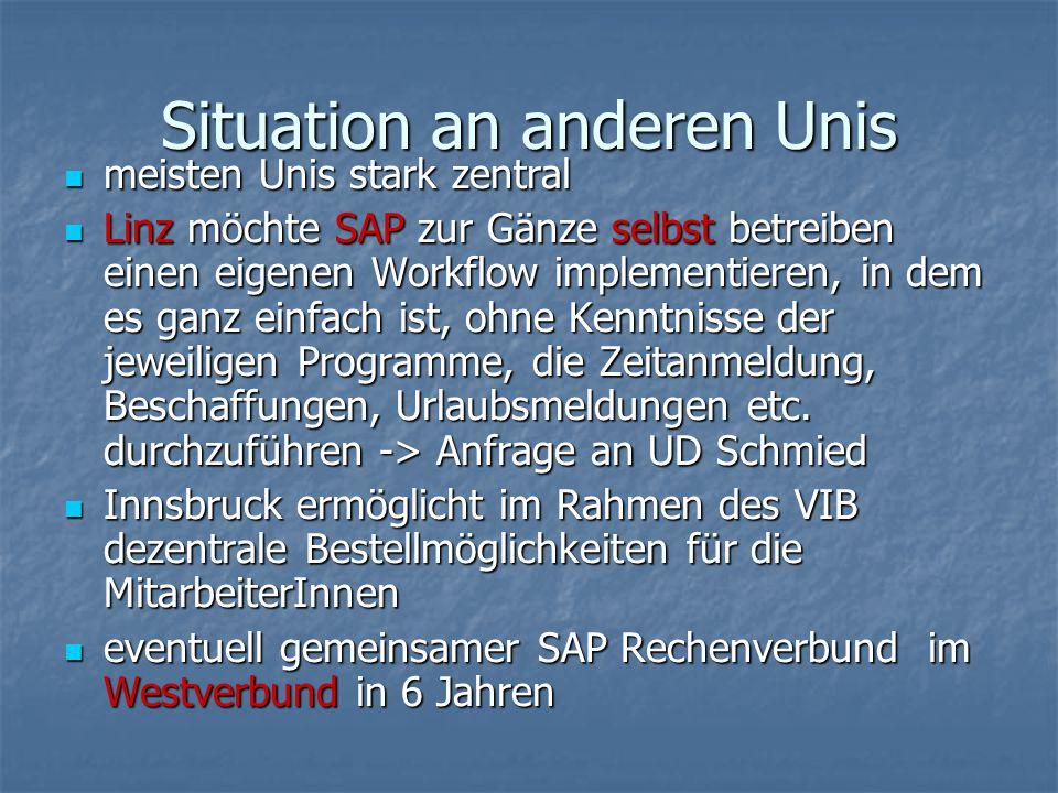 Situation an anderen Unis meisten Unis stark zentral meisten Unis stark zentral Linz möchte SAP zur Gänze selbst betreiben einen eigenen Workflow impl