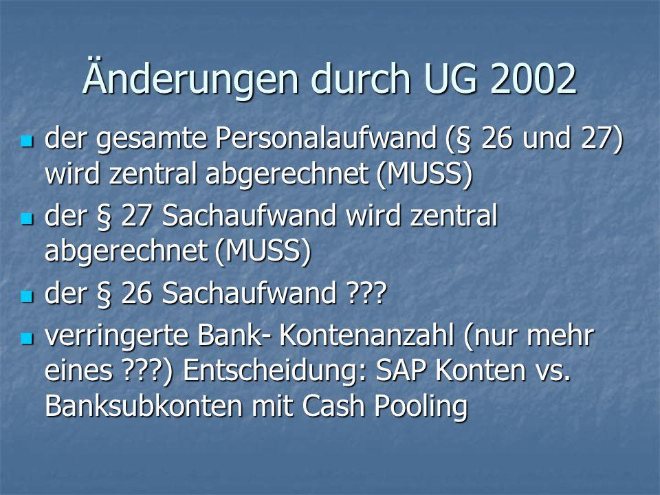 Änderungen durch UG 2002 der gesamte Personalaufwand (§ 26 und 27) wird zentral abgerechnet (MUSS) der gesamte Personalaufwand (§ 26 und 27) wird zent