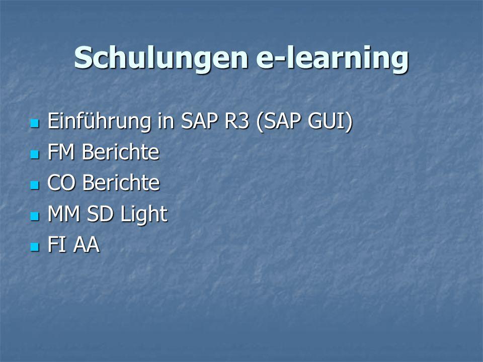 Schulungen e-learning Einführung in SAP R3 (SAP GUI) Einführung in SAP R3 (SAP GUI) FM Berichte FM Berichte CO Berichte CO Berichte MM SD Light MM SD