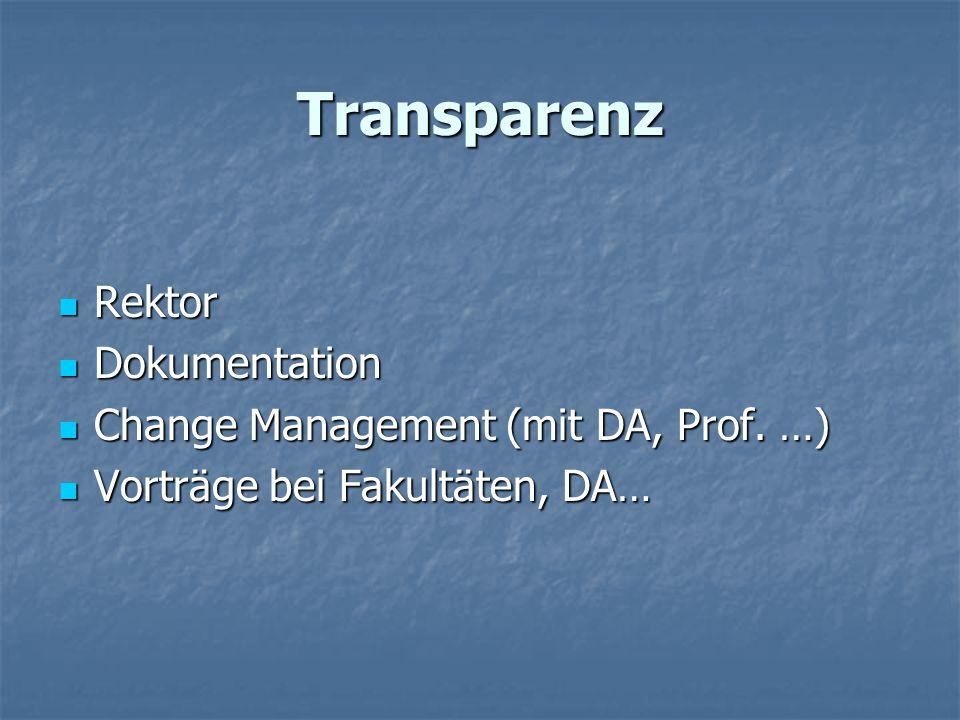 Transparenz Rektor Rektor Dokumentation Dokumentation Change Management (mit DA, Prof. …) Change Management (mit DA, Prof. …) Vorträge bei Fakultäten,