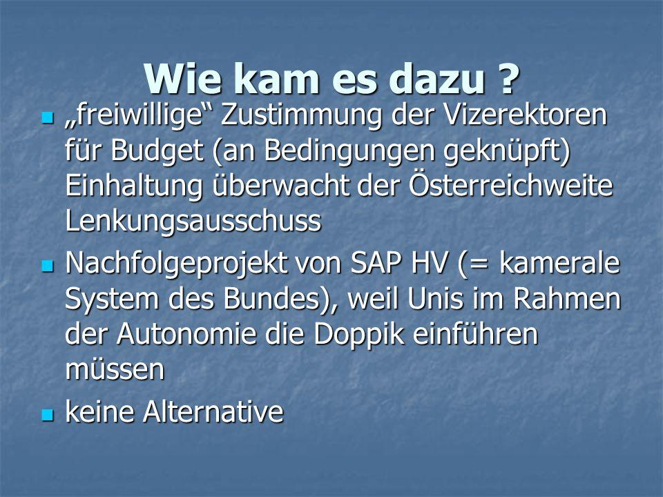 """Wie kam es dazu ? """"freiwillige"""" Zustimmung der Vizerektoren für Budget (an Bedingungen geknüpft) Einhaltung überwacht der Österreichweite Lenkungsauss"""
