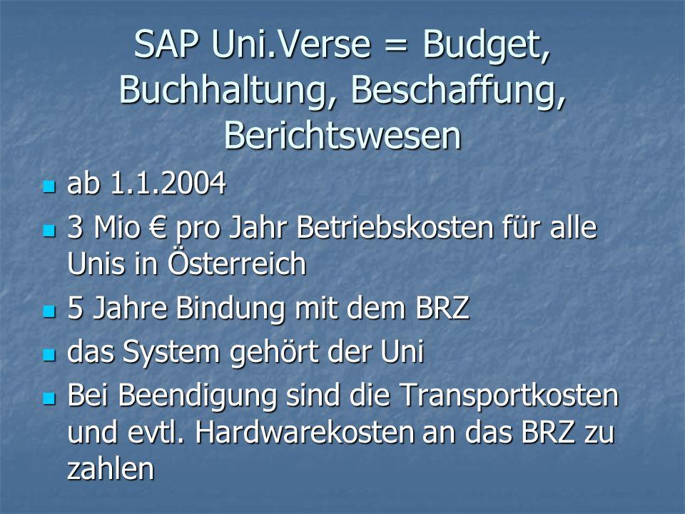 SAP Uni.Verse = Budget, Buchhaltung, Beschaffung, Berichtswesen ab 1.1.2004 ab 1.1.2004 3 Mio € pro Jahr Betriebskosten für alle Unis in Österreich 3