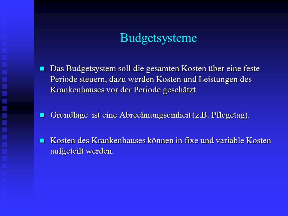 Budgetsysteme Das Budgetsystem soll die gesamten Kosten über eine feste Periode steuern, dazu werden Kosten und Leistungen des Krankenhauses vor der P
