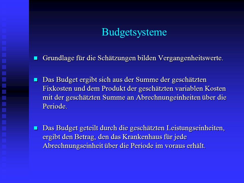 Budgetsysteme Grundlage für die Schätzungen bilden Vergangenheitswerte. Grundlage für die Schätzungen bilden Vergangenheitswerte. Das Budget ergibt si