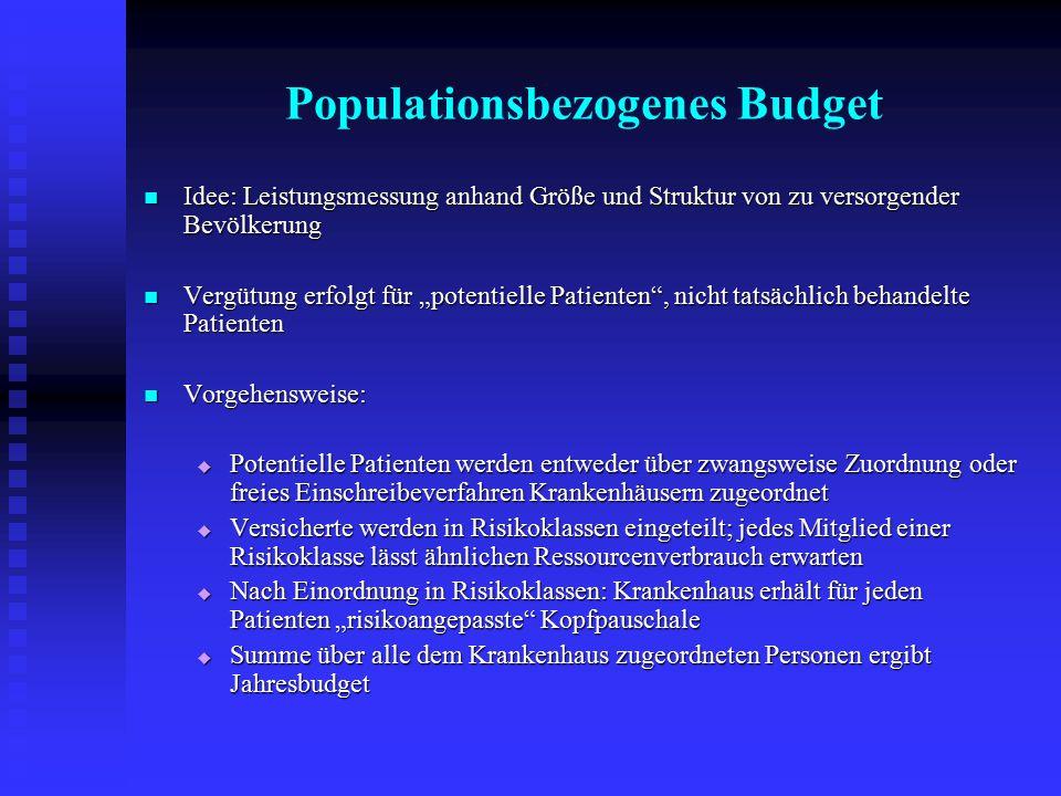Populationsbezogenes Budget Idee: Leistungsmessung anhand Größe und Struktur von zu versorgender Bevölkerung Idee: Leistungsmessung anhand Größe und S