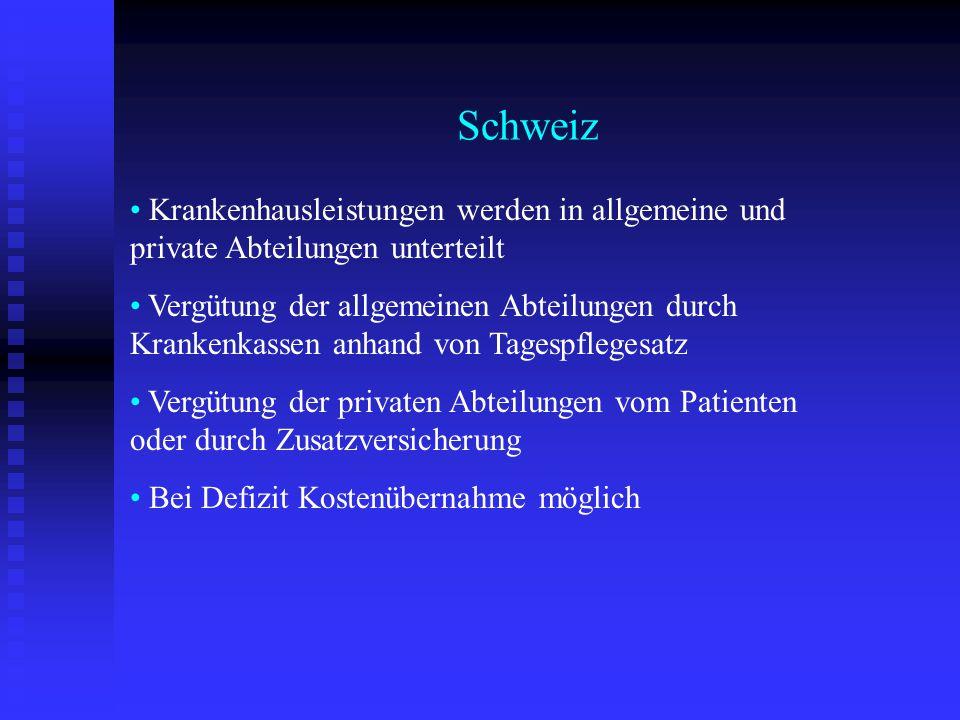 Schweiz Krankenhausleistungen werden in allgemeine und private Abteilungen unterteilt Vergütung der allgemeinen Abteilungen durch Krankenkassen anhand