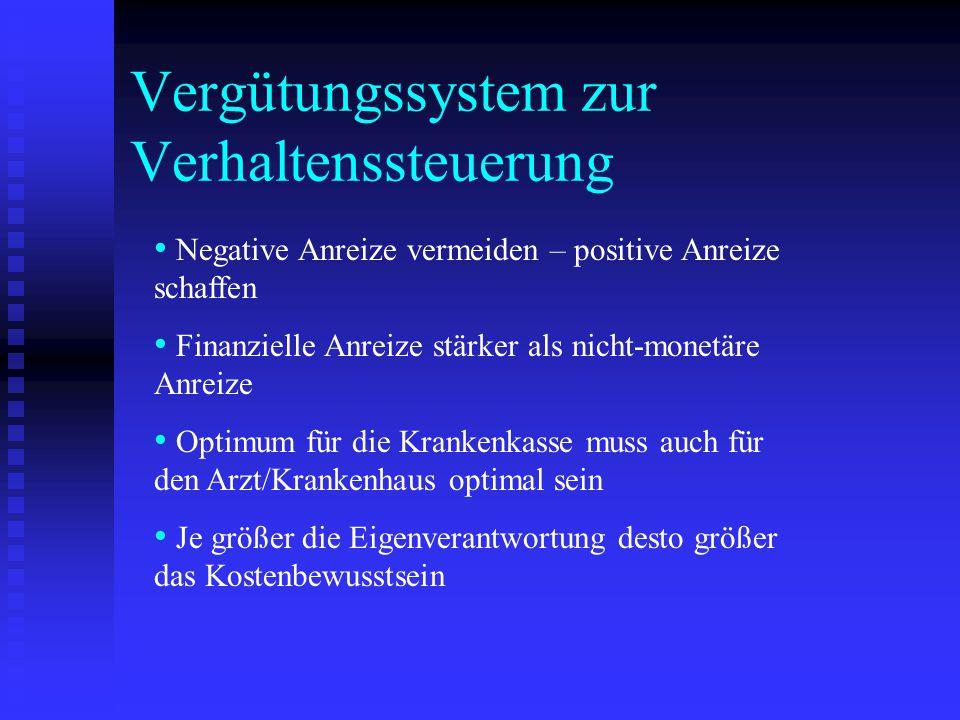 Vergütungssystem zur Verhaltenssteuerung Negative Anreize vermeiden – positive Anreize schaffen Finanzielle Anreize stärker als nicht-monetäre Anreize
