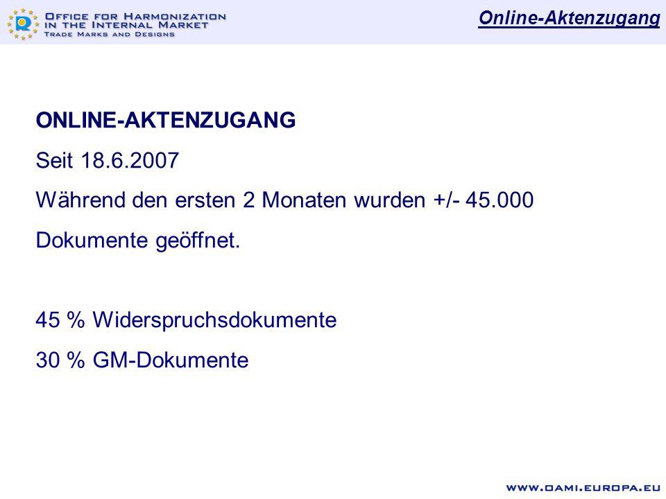 ONLINE-AKTENZUGANG Seit 18.6.2007 Während den ersten 2 Monaten wurden +/- 45.000 Dokumente geöffnet.