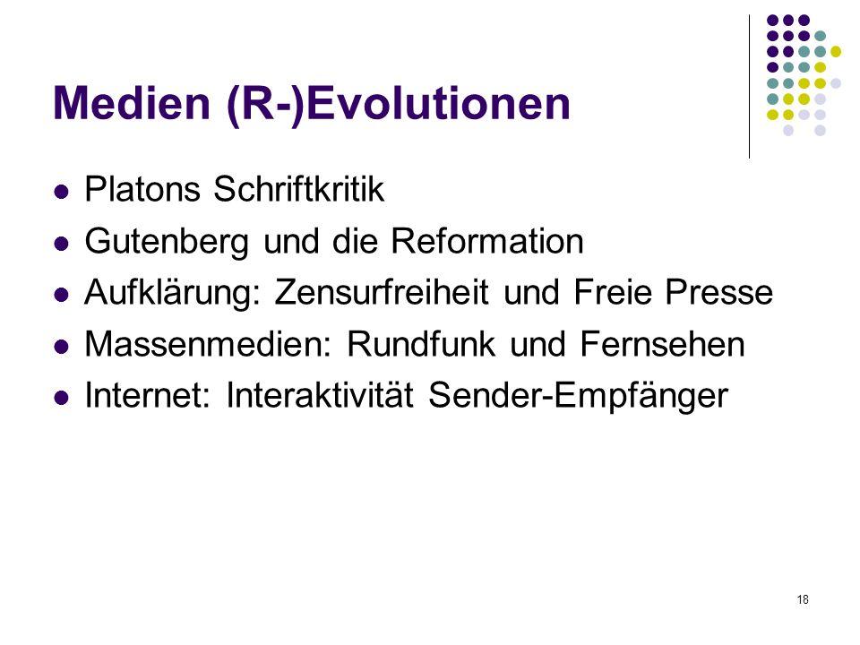 18 Medien (R-)Evolutionen Platons Schriftkritik Gutenberg und die Reformation Aufklärung: Zensurfreiheit und Freie Presse Massenmedien: Rundfunk und Fernsehen Internet: Interaktivität Sender-Empfänger
