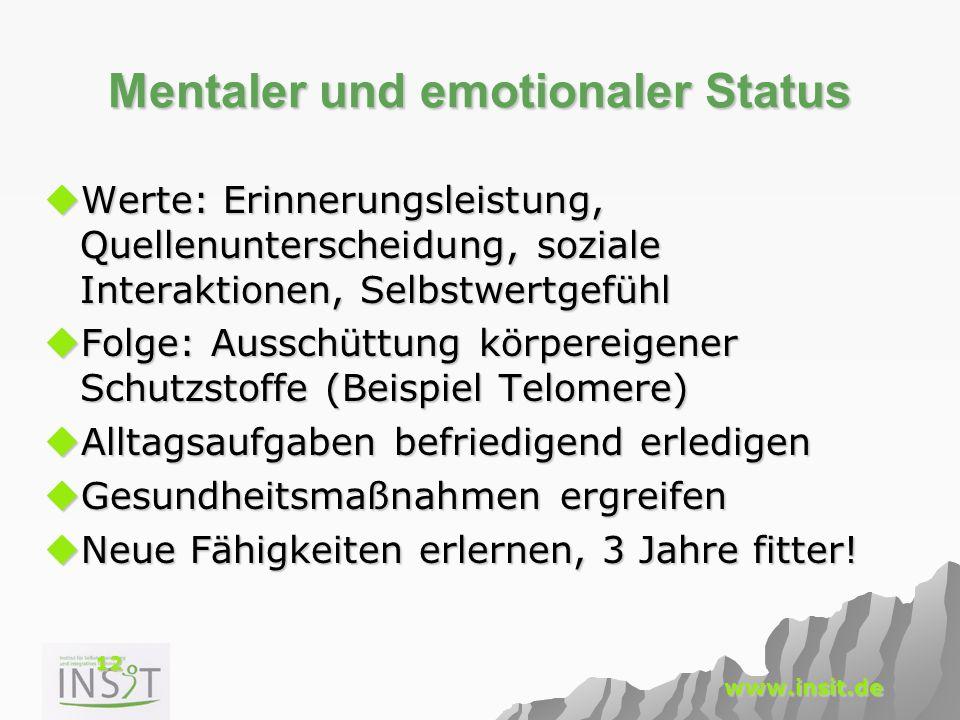 12 www.insit.de Mentaler und emotionaler Status  Werte: Erinnerungsleistung, Quellenunterscheidung, soziale Interaktionen, Selbstwertgefühl  Folge: