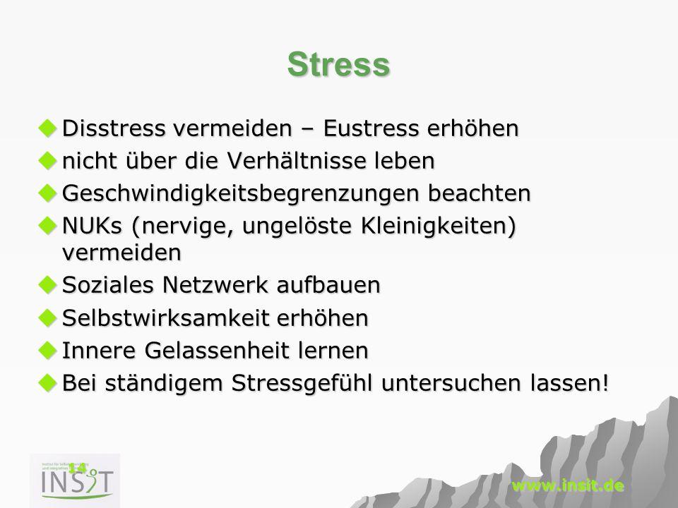 14 www.insit.de Stress  Disstress vermeiden – Eustress erhöhen  nicht über die Verhältnisse leben  Geschwindigkeitsbegrenzungen beachten  NUKs (ne