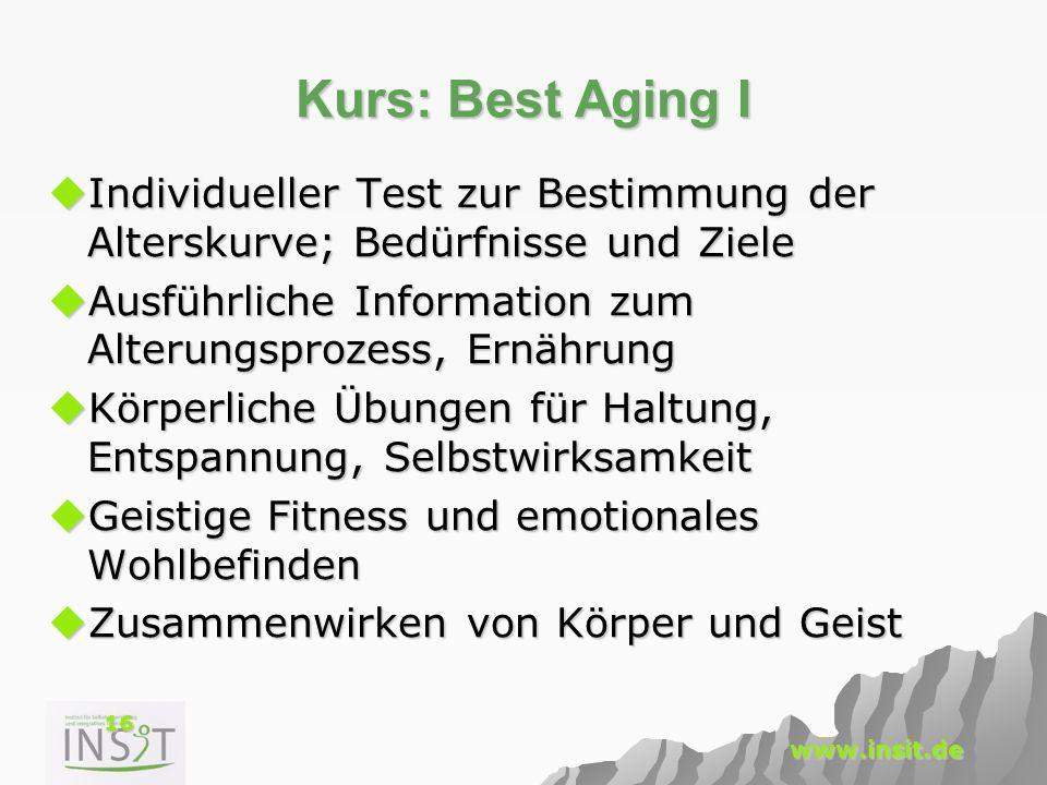 16 www.insit.de Kurs: Best Aging I  Individueller Test zur Bestimmung der Alterskurve; Bedürfnisse und Ziele  Ausführliche Information zum Alterungs
