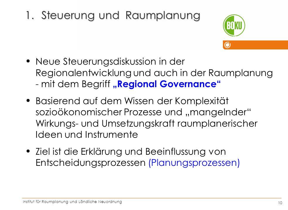 Institut für Raumplanung und Ländliche Neuordnung IRUB 10 1.Steuerung und Raumplanung Neue Steuerungsdiskussion in der Regionalentwicklung und auch in