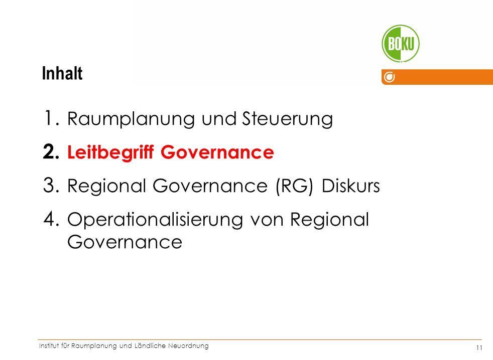 Institut für Raumplanung und Ländliche Neuordnung IRUB 11 1. Raumplanung und Steuerung 2. Leitbegriff Governance 3. Regional Governance (RG) Diskurs 4
