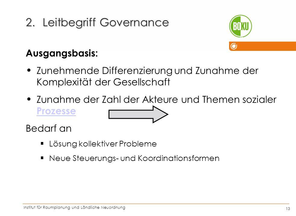 Institut für Raumplanung und Ländliche Neuordnung IRUB 13 2.Leitbegriff Governance Ausgangsbasis: Zunehmende Differenzierung und Zunahme der Komplexit