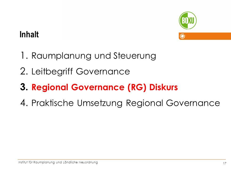 Institut für Raumplanung und Ländliche Neuordnung IRUB 17 1. Raumplanung und Steuerung 2. Leitbegriff Governance 3. Regional Governance (RG) Diskurs 4
