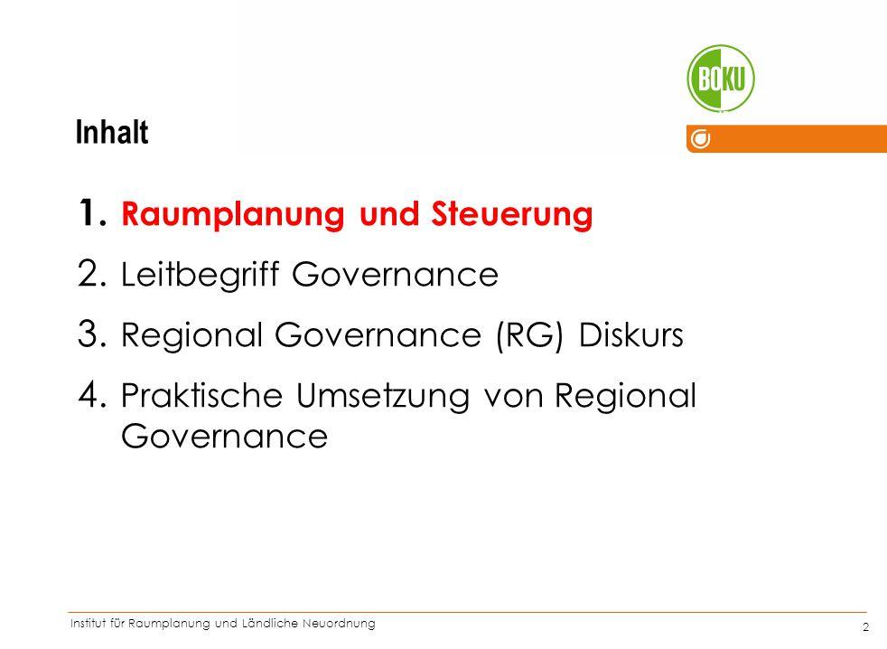 Institut für Raumplanung und Ländliche Neuordnung IRUB 2 1. Raumplanung und Steuerung 2. Leitbegriff Governance 3. Regional Governance (RG) Diskurs 4.