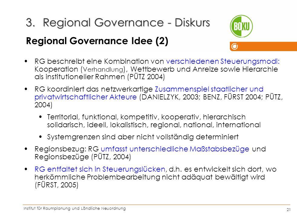 Institut für Raumplanung und Ländliche Neuordnung IRUB 21 RG beschreibt eine Kombination von verschiedenen Steuerungsmodi: Kooperation ( Verhandlung )