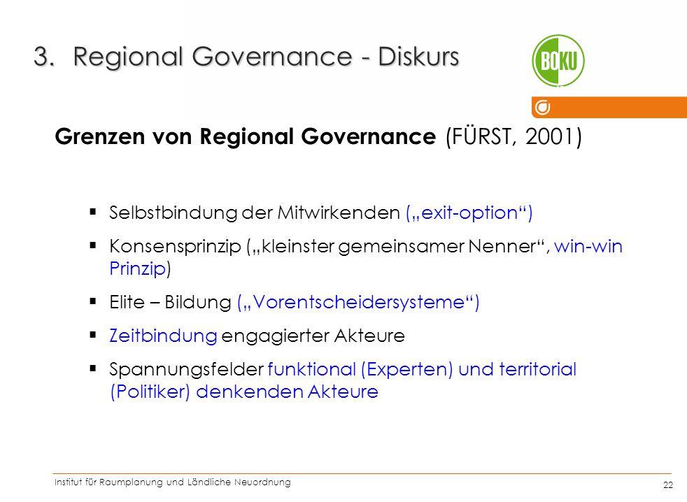 """Institut für Raumplanung und Ländliche Neuordnung IRUB 22 Grenzen von Regional Governance (FÜRST, 2001)  Selbstbindung der Mitwirkenden (""""exit-option"""