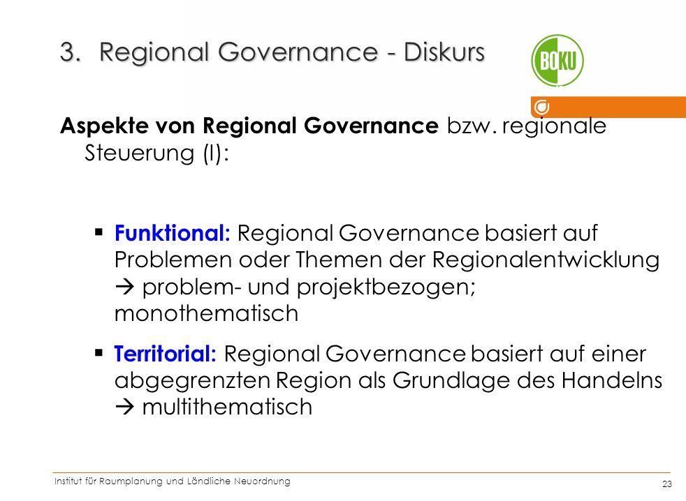 Institut für Raumplanung und Ländliche Neuordnung IRUB 23 3.Regional Governance - Diskurs Aspekte von Regional Governance bzw. regionale Steuerung (I)