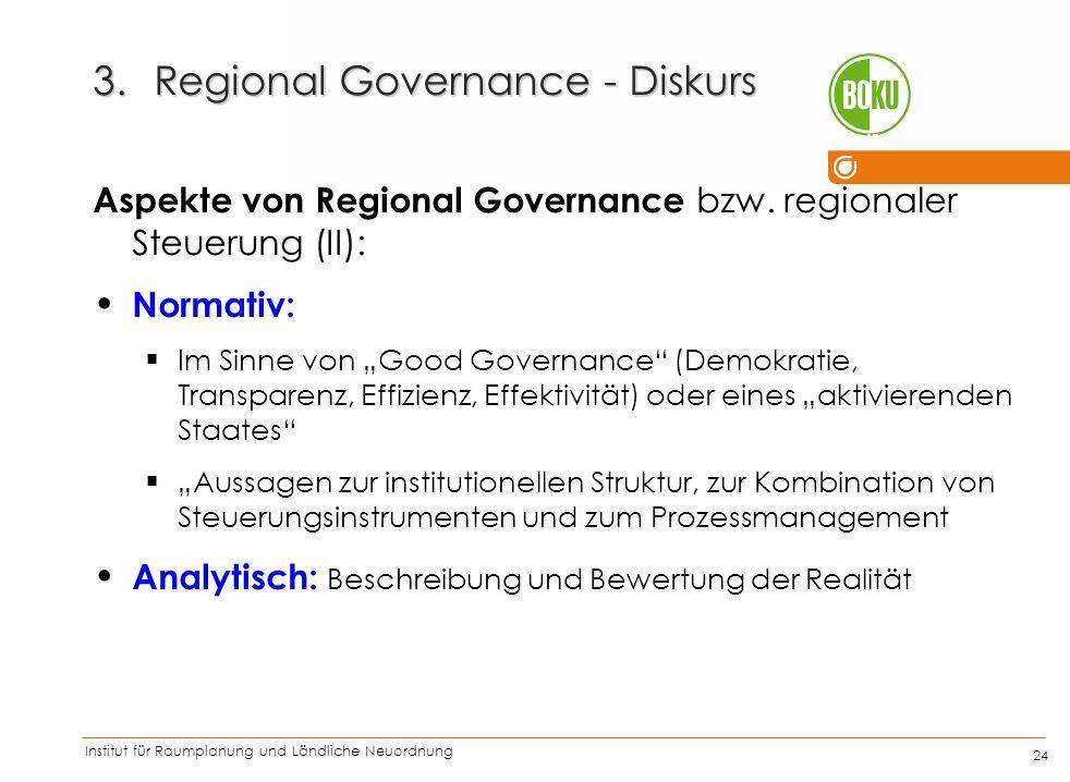 Institut für Raumplanung und Ländliche Neuordnung IRUB 24 3.Regional Governance - Diskurs Aspekte von Regional Governance bzw. regionaler Steuerung (I