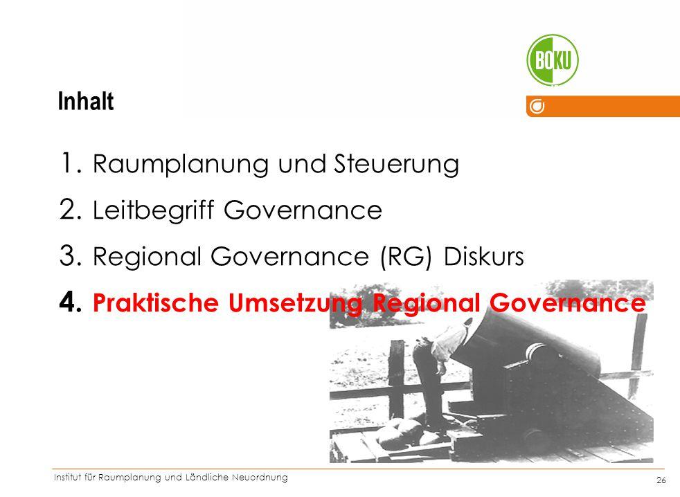 Institut für Raumplanung und Ländliche Neuordnung IRUB 26 1. Raumplanung und Steuerung 2. Leitbegriff Governance 3. Regional Governance (RG) Diskurs 4