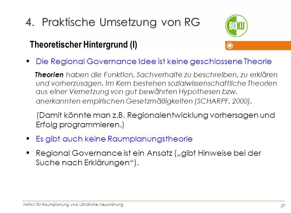 Institut für Raumplanung und Ländliche Neuordnung IRUB 27 4.Praktische Umsetzung von RG Die Regional Governance Idee ist keine geschlossene Theorie Th