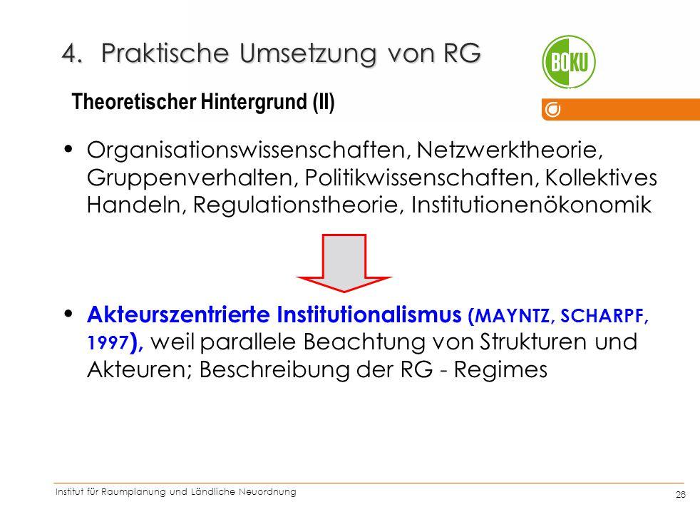 Institut für Raumplanung und Ländliche Neuordnung IRUB 28 4.Praktische Umsetzung von RG Organisationswissenschaften, Netzwerktheorie, Gruppenverhalten