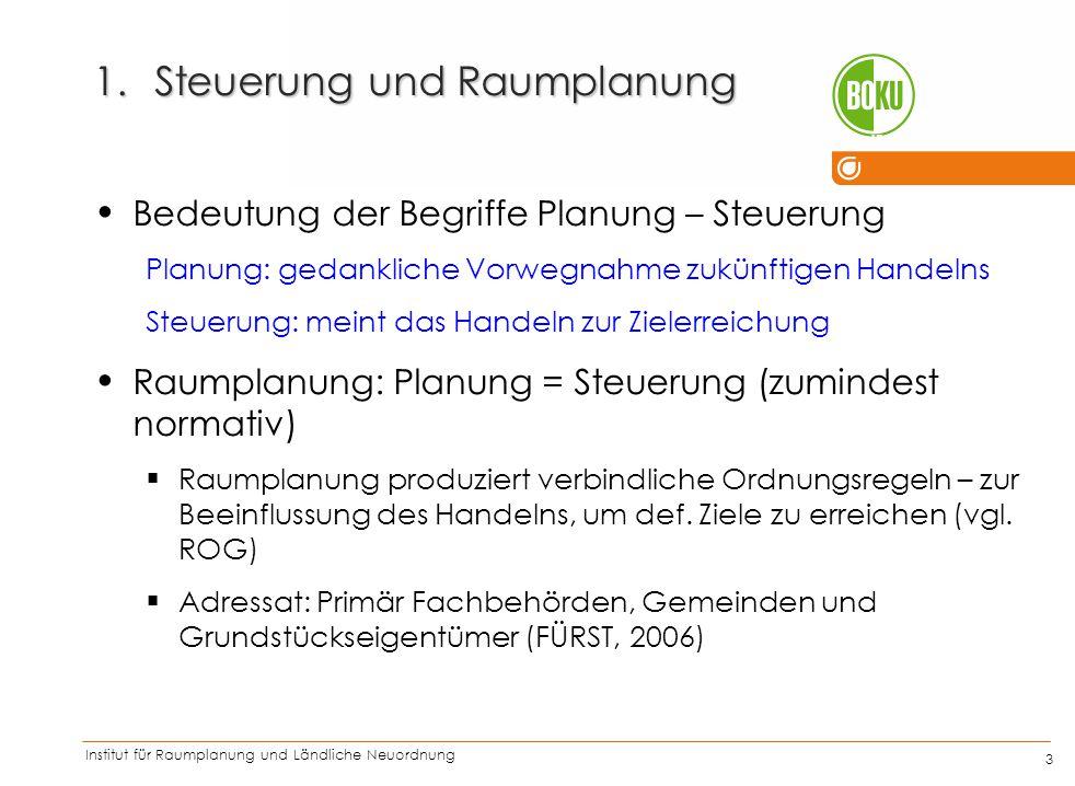 Institut für Raumplanung und Ländliche Neuordnung IRUB 3 1.Steuerung und Raumplanung Bedeutung der Begriffe Planung – Steuerung Planung: gedankliche V