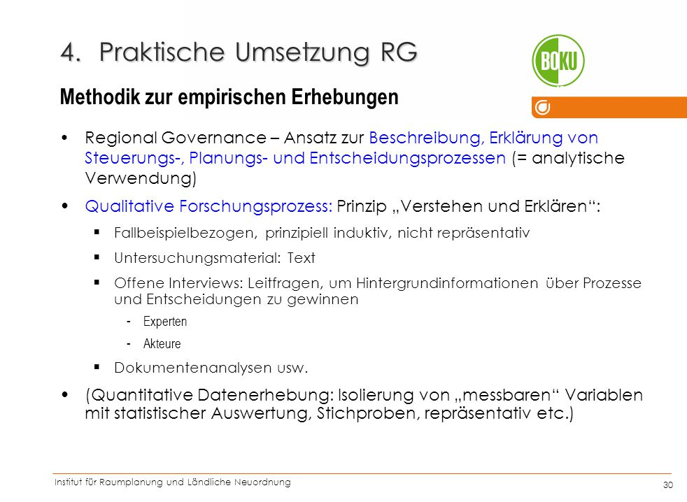 Institut für Raumplanung und Ländliche Neuordnung IRUB 30 4.Praktische Umsetzung RG Regional Governance – Ansatz zur Beschreibung, Erklärung von Steue