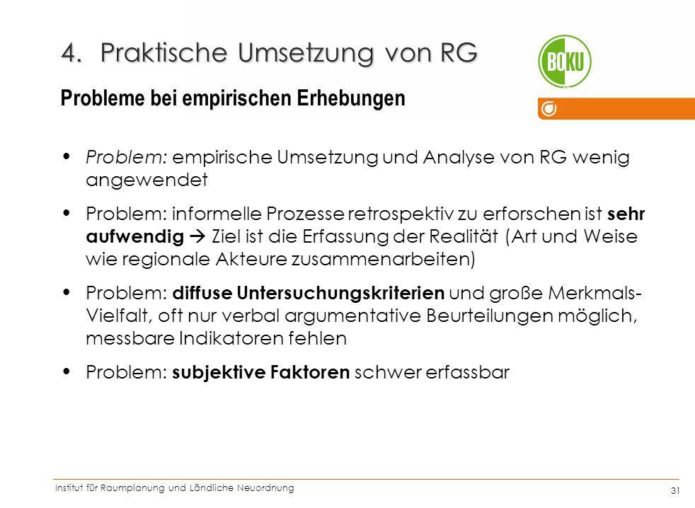 Institut für Raumplanung und Ländliche Neuordnung IRUB 31 4.Praktische Umsetzung von RG Problem: empirische Umsetzung und Analyse von RG wenig angewen